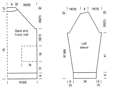 Удлиненный свитер спицами с рукавом реглан полупатентным узором выкройка и схема вязания