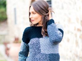 Пуловер в стиле пэчворк жемчужным узором схема вязания с подробным описанием для женщин спицами