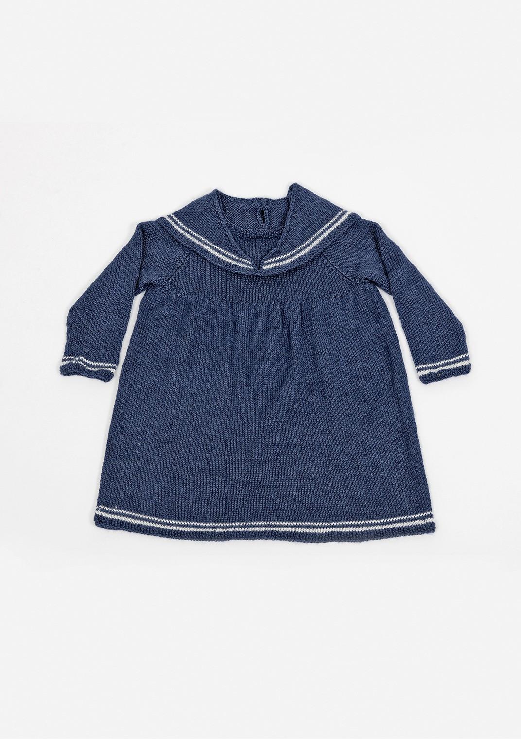 Платье в морском стиле для девочки спицами