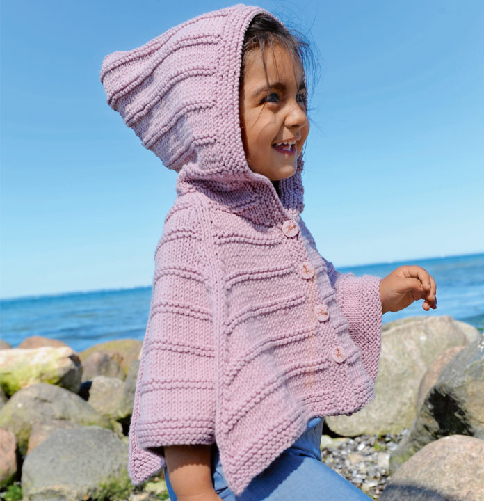 Детское пончо с капюшоном спицами схема вязания с подробным описанием для детей
