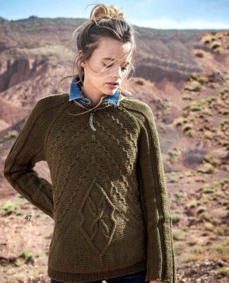 Пуловер с необычным узором из диагональных полос схема вязания с подробным описанием