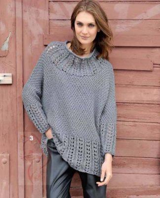 Свободный пуловер пончо спицами с узким рукавом схема вязания и выкройка с подробным описанием для женщин