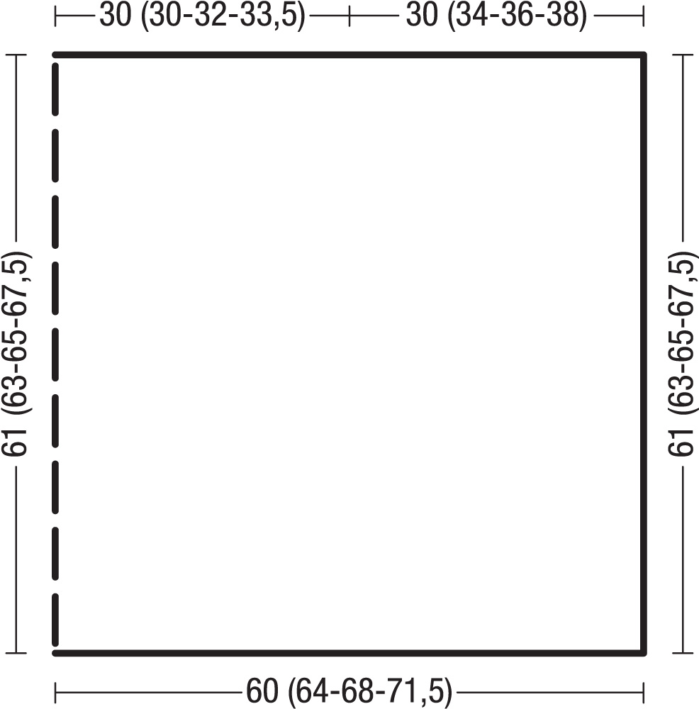 Простой пончо спицами изнаночной гладью схема вязания с подробным описанием