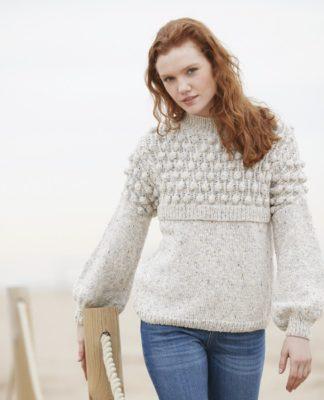 Меланжевый пуловер спицами с широкими рукавами схема вязания спицами с подробным описанием для женщин