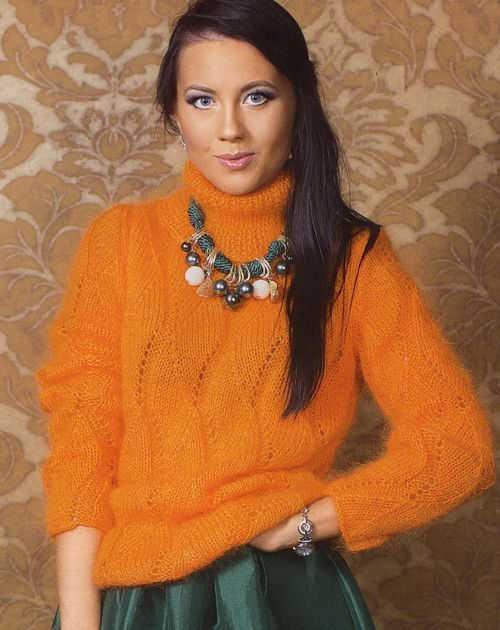 Мохеровый свитер с воротником хомут спицами схема вязания с подробным описанием для женщин спицами