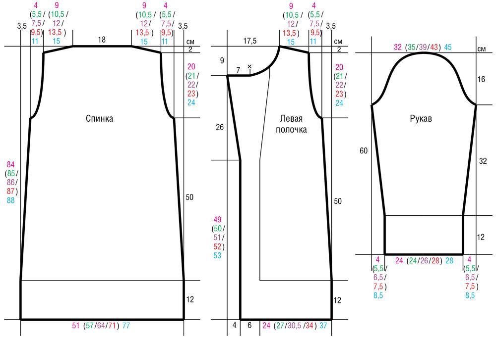 Белый кардиган на крупных спицах схема вязания с подробным описанием