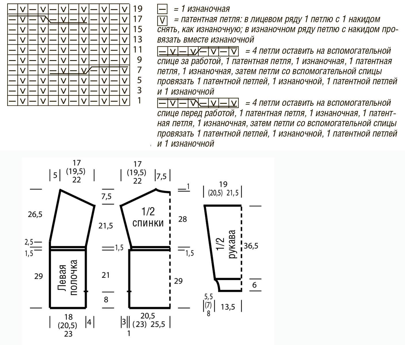 Кардиган спицами полупатентным узором схема вязания с подробным описанием