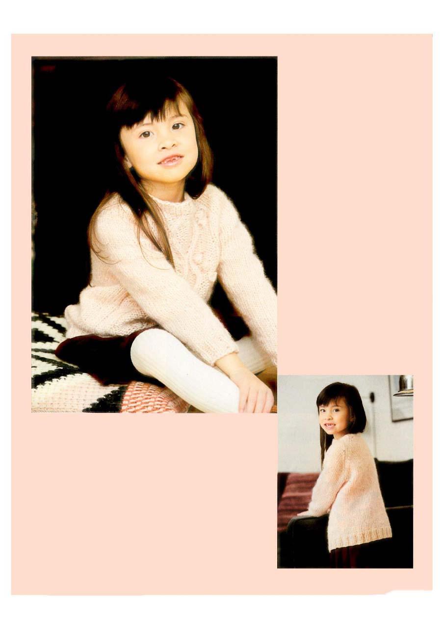 Детский пуловер спицами с узором из шишечек и Аранов
