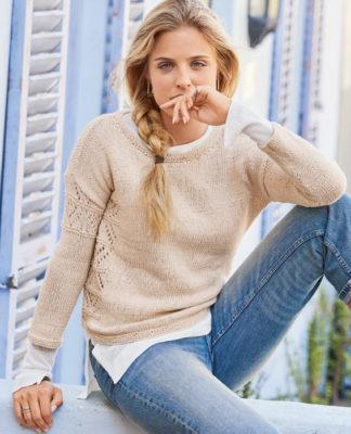 Пуловер со спущенным рукавом и несимметричным расположением узора схема вязания с подробным описанием для женщин спицами