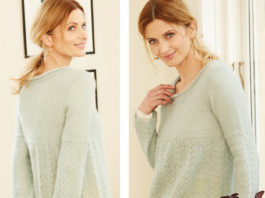 Пуловер спицами с ажурным узором А-силуэта схема вязания с подробным описанием для женщин спицами