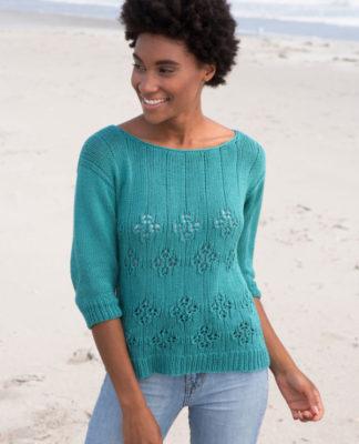 Летний пуловер спицами с ажурным узором Цветы схема вязания с подробным описанием для женщин бесплатно