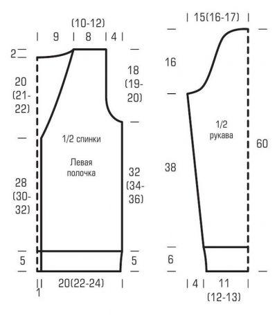 Классический жакет с V-образным вырезом схема вязания и выкройка с подробным описанием