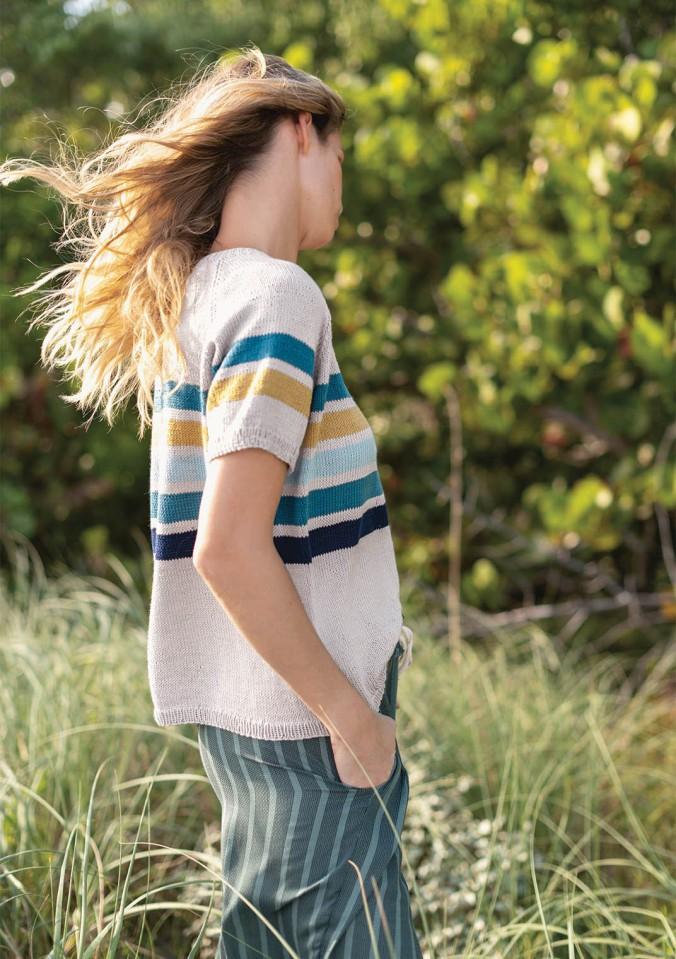 Полосатая футболка спицами с рукавом реглан схема вязания и подробное описание спицами