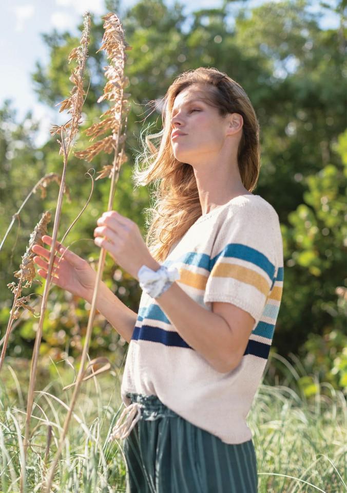 Полосатая футболка спицами с рукавом реглан схема вязания с подробным описанием для женщин