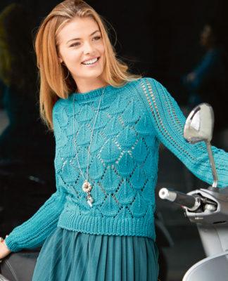 Ажурный пуловер с рукавом реглан спицами схема вязания с подробным описанием