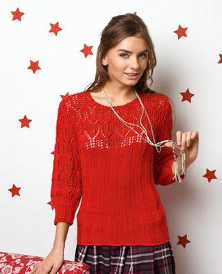 Яркий пуловер спицами с ажурной кокеткой схема вязания с подробным описанием