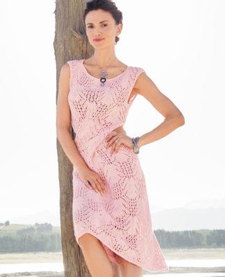 Летнее ажурное платье спицами с фантазийным узором схема вязания с подробным описанием