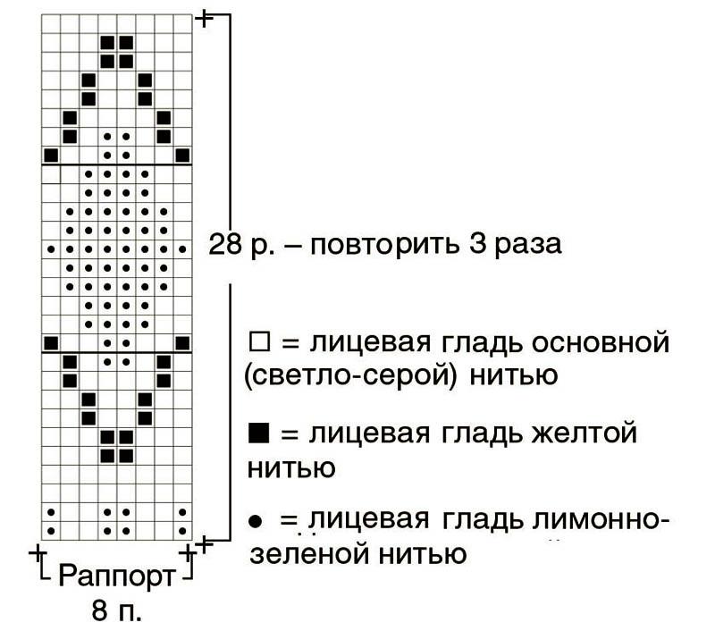 Жилет спицами с жаккардовым орнаментом схема вязания с подробным описанием