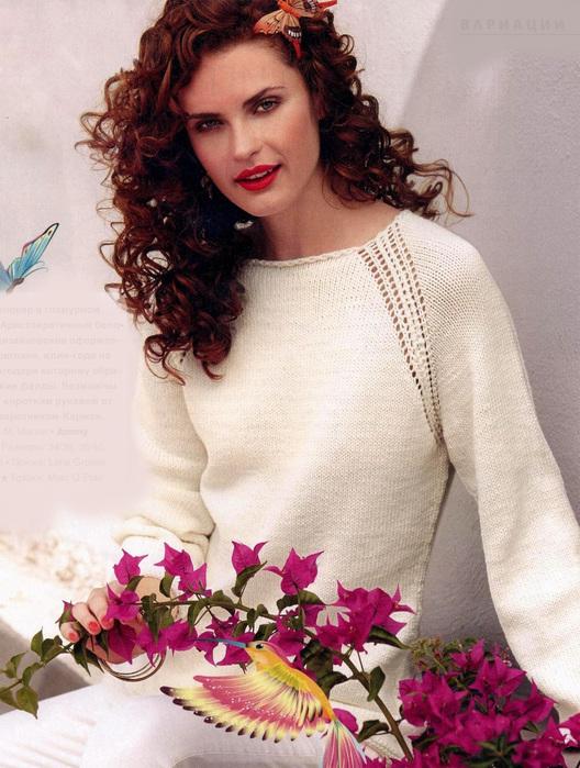 белый пуловер с рукавом реглан схема вязания спицами портал