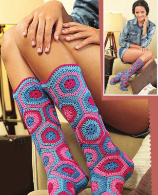 Носочки из мотивов крючком вязание для начинающих