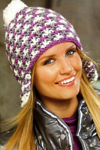 схема вязания женской шапки спицами с описанием