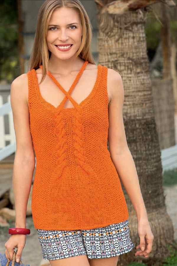 Оранжевый топ спицами для женщин