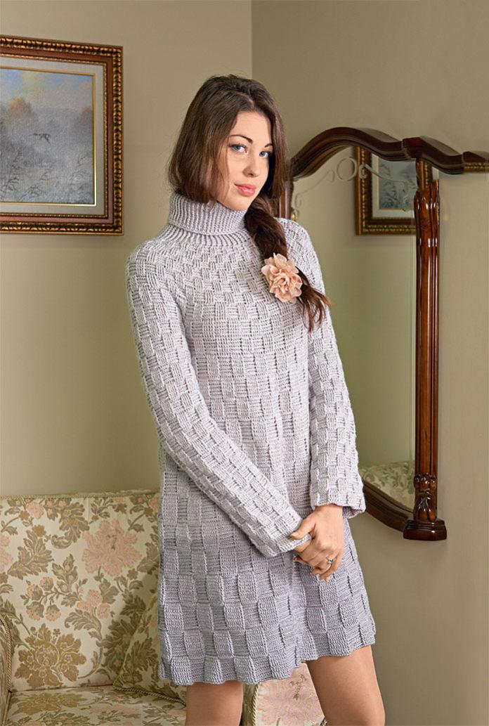 схема вязания платья крючком с шахматным узором