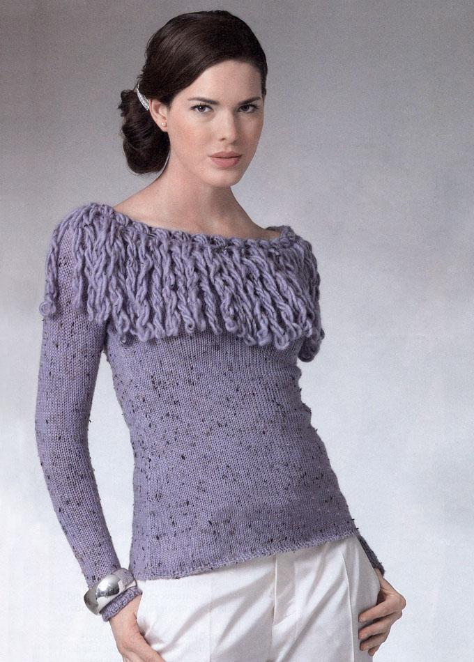 модный пуловер спицами для женщин с вырезом лодочка