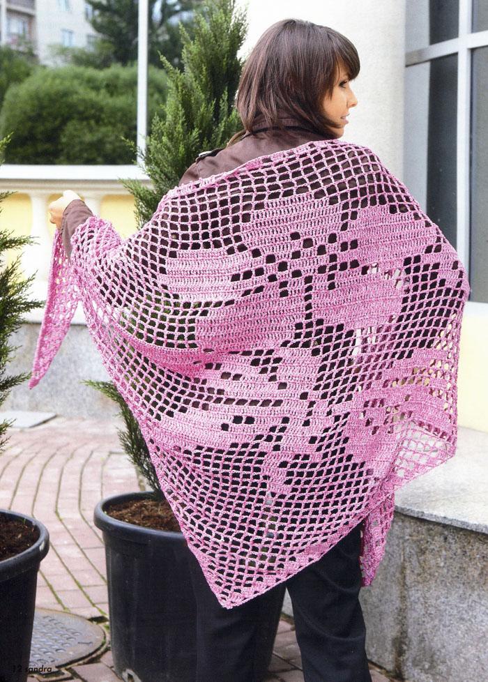 большая шаль в филейной технике портал рукоделия и моды