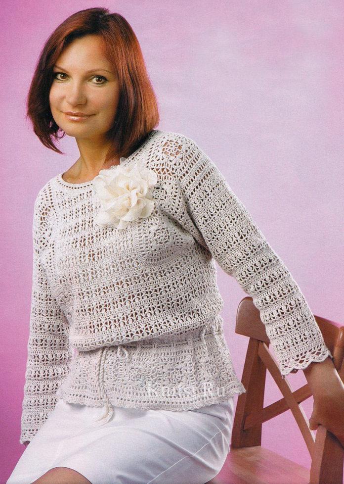 схема вязания с описанием женского пуловера