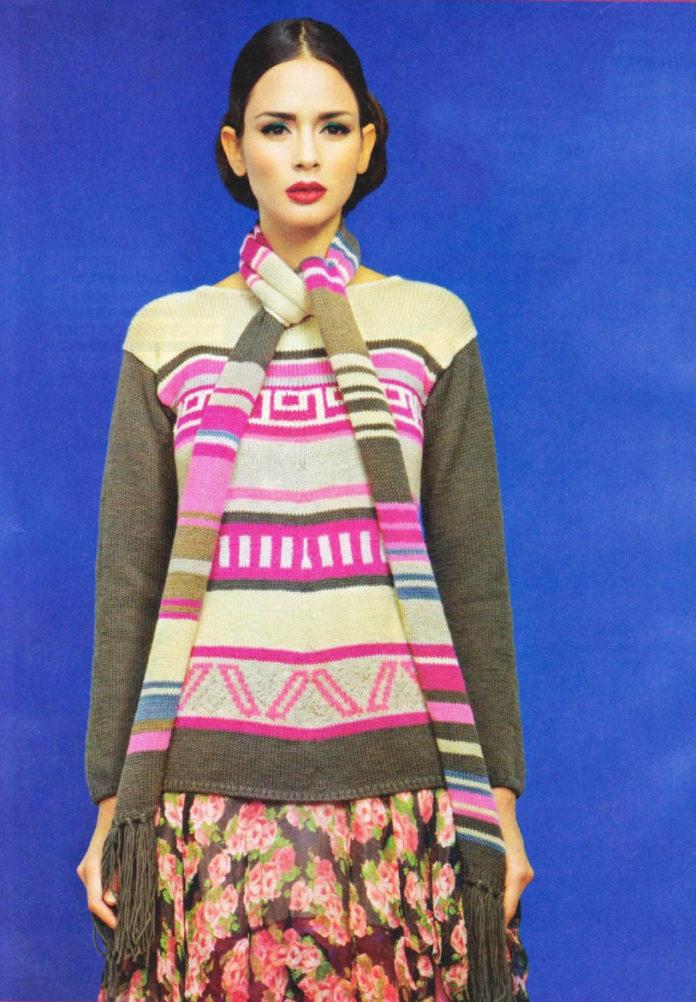 Жаккардовый свитер спицами и шарф
