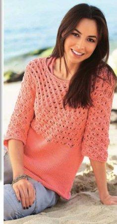 Оранжевый пуловер с рельефным узором
