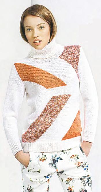 Шерстяной свитер спицами с геометрическим узором
