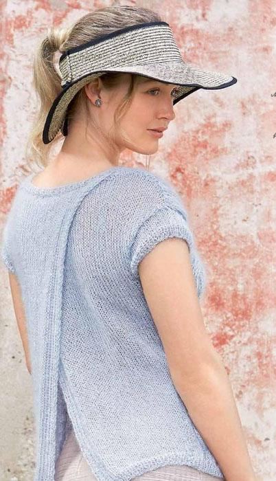 Летний пуловер с запахом на спине