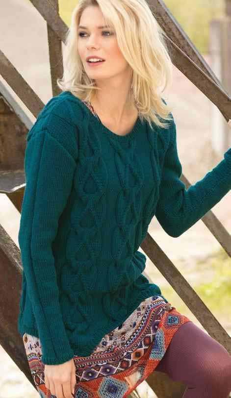 Изумрудный свитер спицами для женщин схема вязания с описанием бесплатно