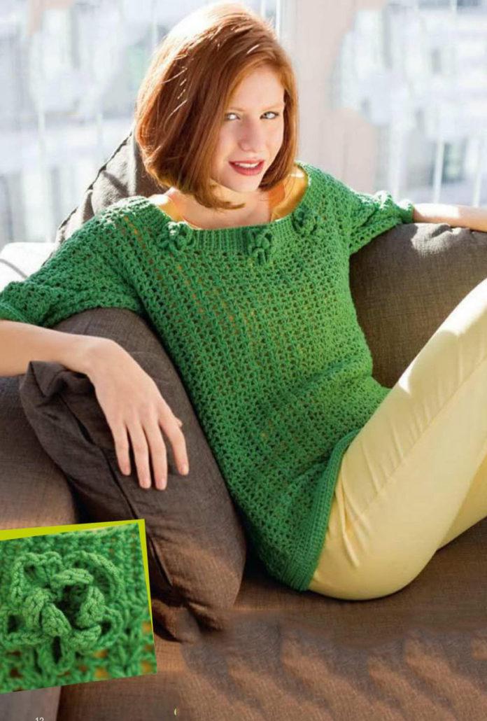 Зеленый пуловер крючком с цветами