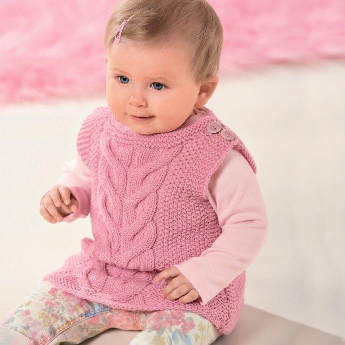 Розовый жилет для девочки спицами схема вязания с описанием бесплатно для детей