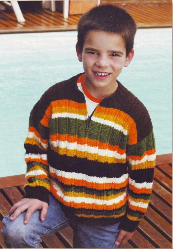 Джемпер спицами для мальчика 8 лет