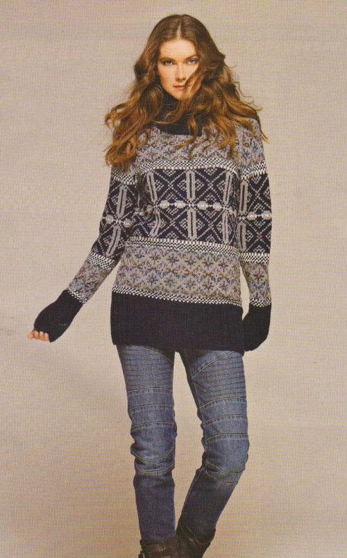 Жаккардовый пуловер для женщин спицами