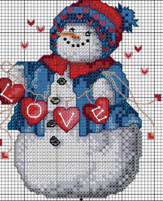 Вышивка крестом Снеговик схема