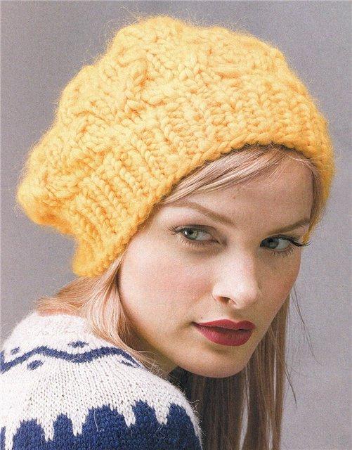Объемная шапка спицами с узором из кос