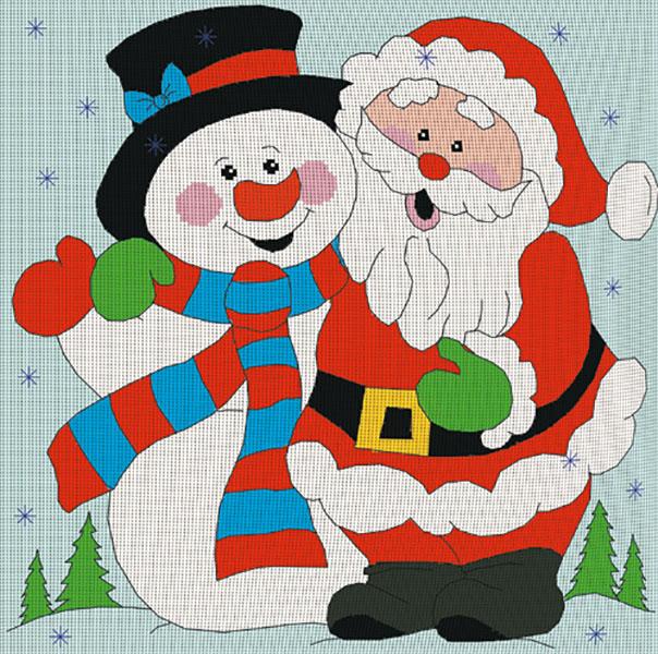 Картина Дед мороз и снеговик вышивка крестом