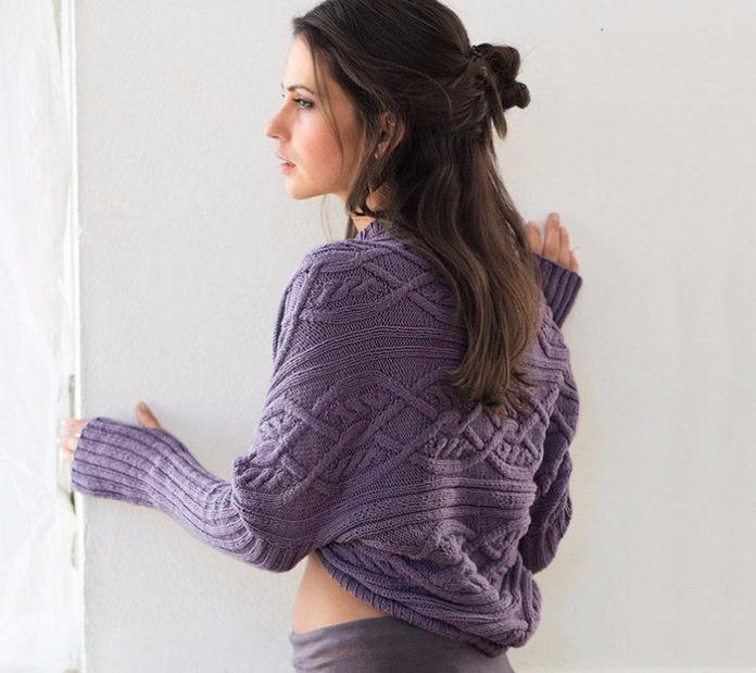 Болеро спицами с узором из поперечных кос схема вязания спицами