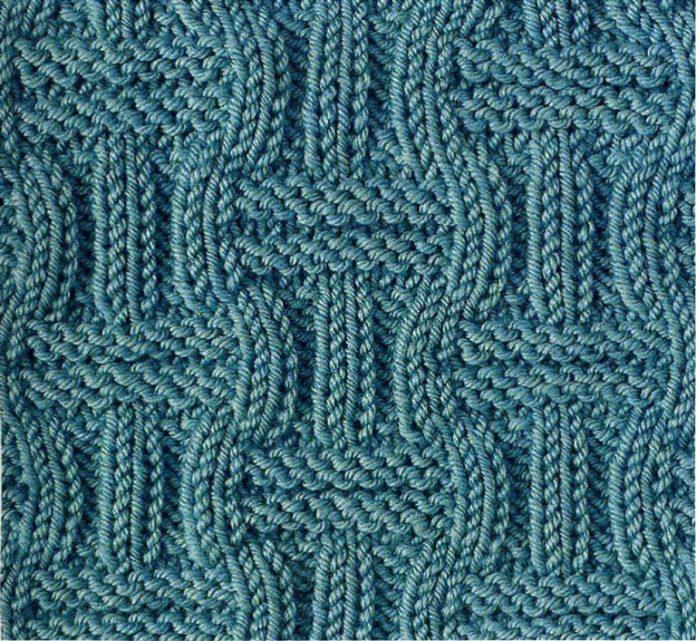 Схема вязания спицами структурного узора №3