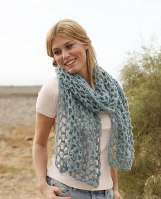 Объемный шарф крючком сетчатым узором схема вязания с подробным описанием