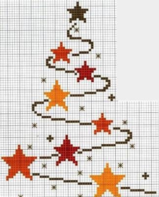 Схема вышивки крестом Новогодняя елка