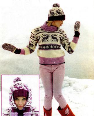Бело-розовый свитер спицами с оленями, шапка и варежки