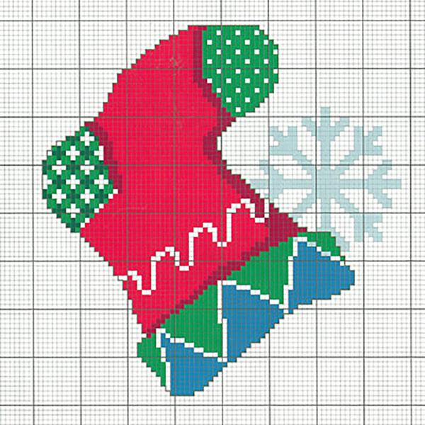 Рождественский носок вышивка крестом схема бесплатно