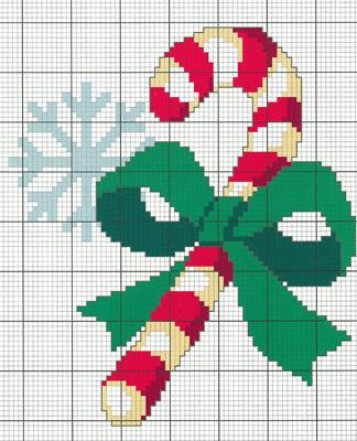 Схема вышивки крестом Новогодняя трость