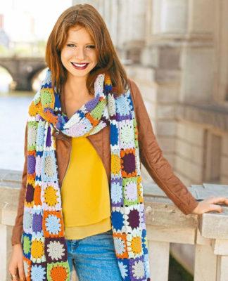 Весенний шарф крючком из цветных мотивов схема вязания с подробным описанием